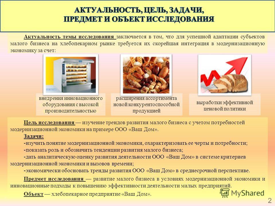 Актуальность темы исследования заключается в том, что для успешной адаптации субъектов малого бизнеса на хлебопекарном рынке требуется их скорейшая интеграция в модернизационную экономику за счет: Цель исследования изучение трендов развития малого би