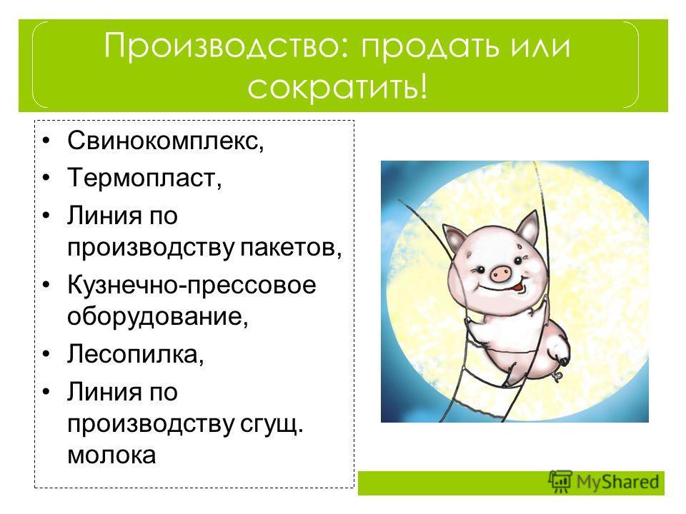 Производство: продать или сократить! Свинокомплекс, Термопласт, Линия по производству пакетов, Кузнечно-прессовое оборудование, Лесопилка, Линия по производству сгущ. молока