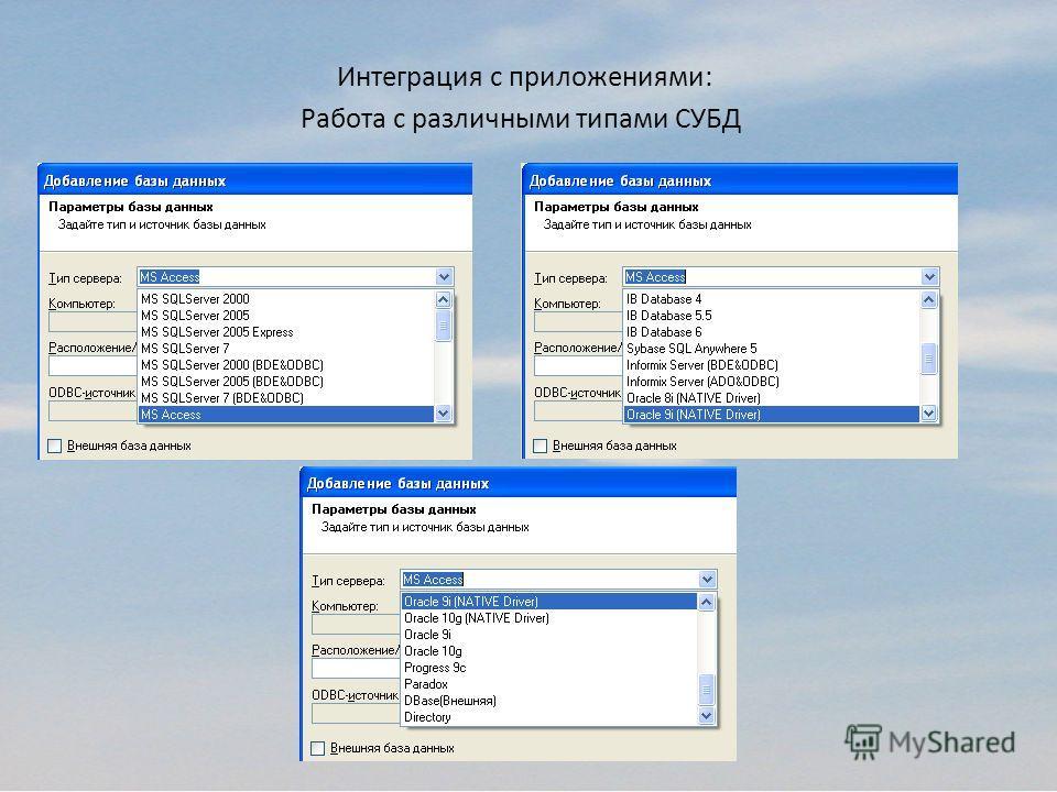 Интеграция с приложениями: Работа с различными типами СУБД