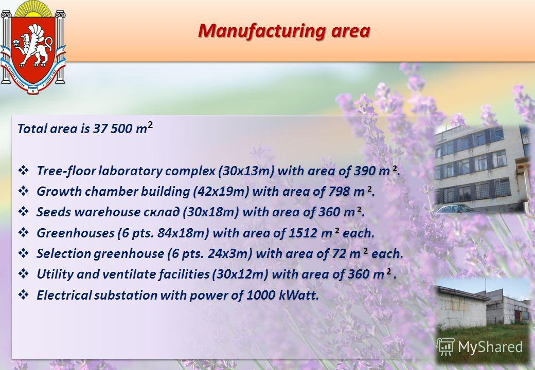 Manufacturing area Total area is 37 500 m 2 Tree-floor laboratory complex (30х13m) with area of 390 m 2. Growth chamber building (42х19m) with area of 798 m 2. Seeds warehouse склад (30х18m) with area of 360 m 2. Greenhouses (6 pts. 84х18m) with area
