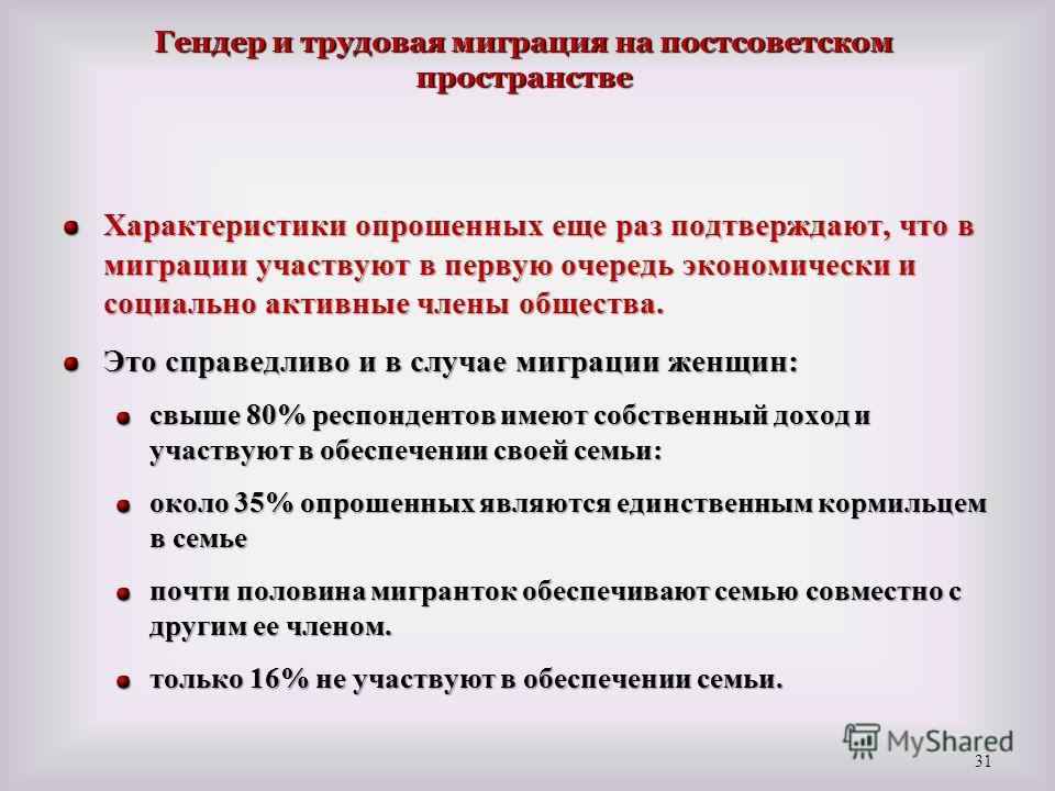 Гендер и трудовая миграция на постсоветском пространстве Характеристики опрошенных еще раз подтверждают, что в миграции участвуют в первую очередь экономически и социально активные члены общества. Это справедливо и в случае миграции женщин: свыше 80%