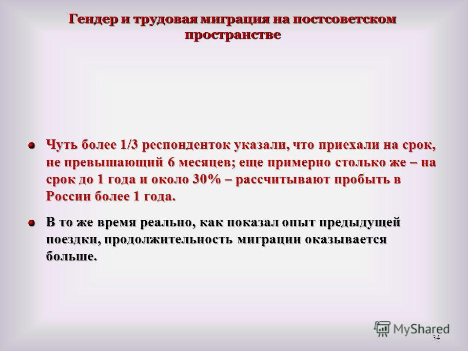 Чуть более 1/3 респонденток указали, что приехали на срок, не превышающий 6 месяцев; еще примерно столько же – на срок до 1 года и около 30% – рассчитывают пробыть в России более 1 года. В то же время реально, как показал опыт предыдущей поездки, про