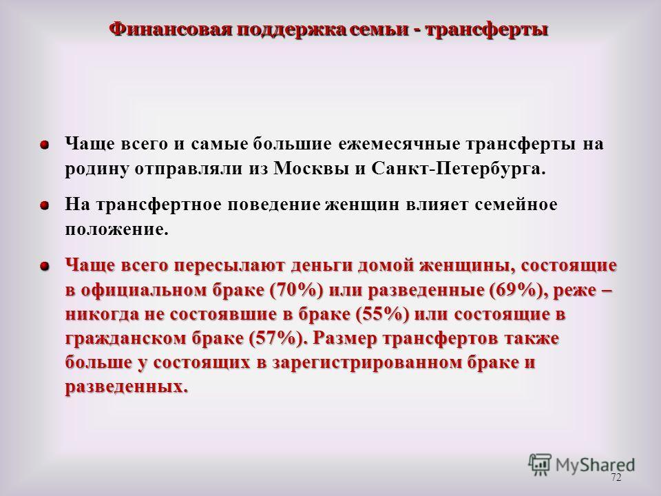 Чаще всего и самые большие ежемесячные трансферты на родину отправляли из Москвы и Санкт-Петербурга. На трансфертное поведение женщин влияет семейное положение. Чаще всего пересылают деньги домой женщины, состоящие в официальном браке (70%) или разве