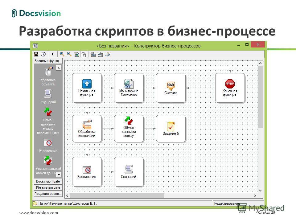 www.docsvision.com Слайд: 29 Разработка скриптов в бизнес-процессе