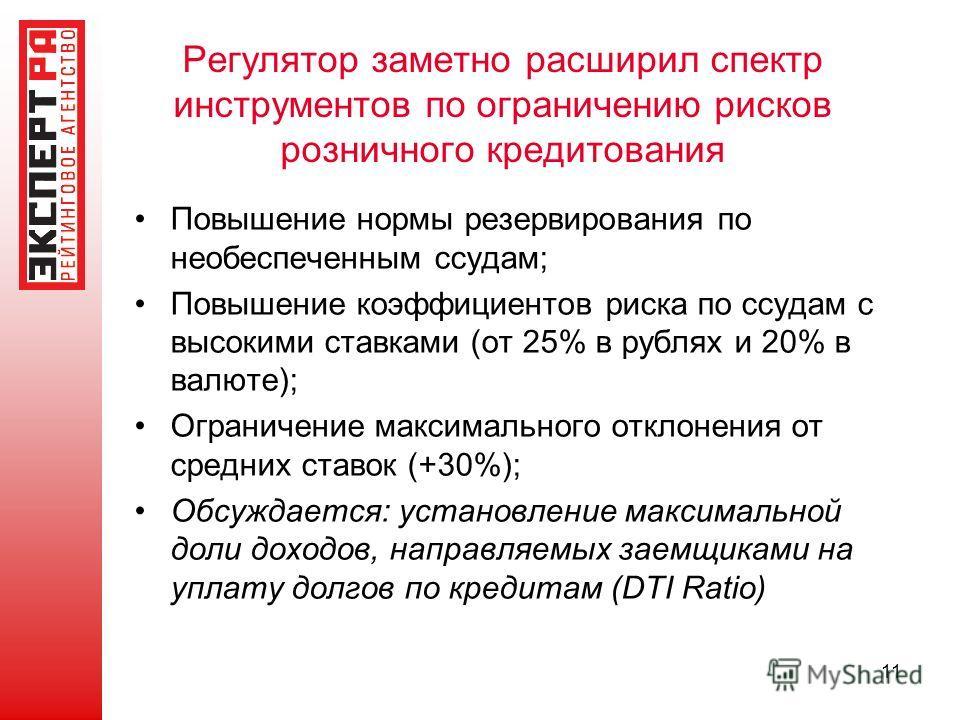 Регулятор заметно расширил спектр инструментов по ограничению рисков розничного кредитования Повышение нормы резервирования по необеспеченным ссудам; Повышение коэффициентов риска по ссудам с высокими ставками (от 25% в рублях и 20% в валюте); Ограни