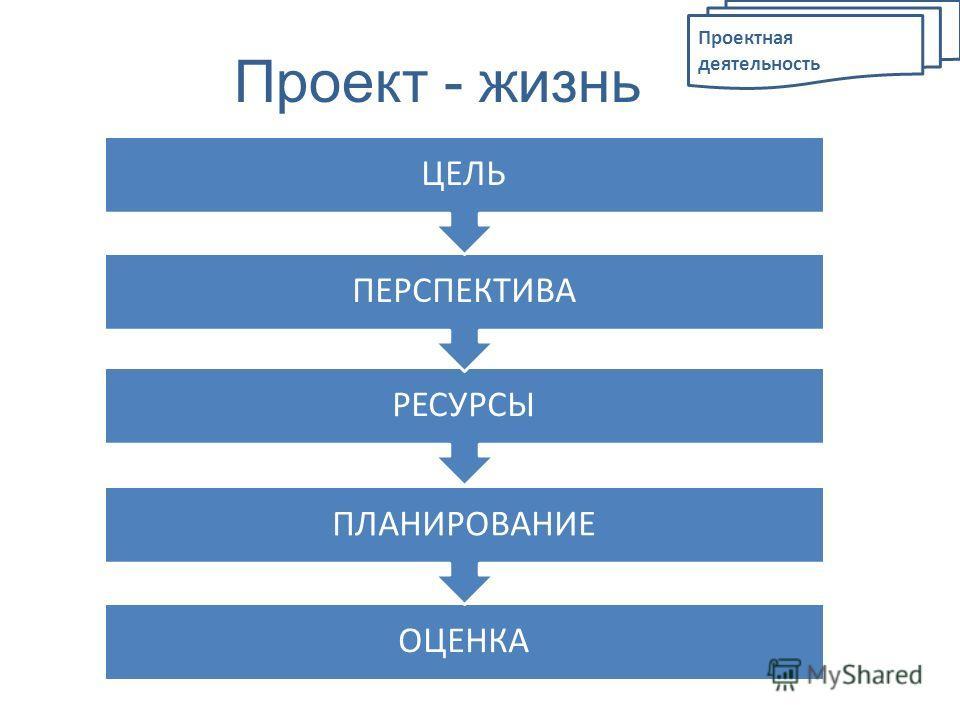 Проект - жизнь ОЦЕНКА ПЛАНИРОВАНИЕ РЕСУРСЫ ПЕРСПЕКТИВА ЦЕЛЬ
