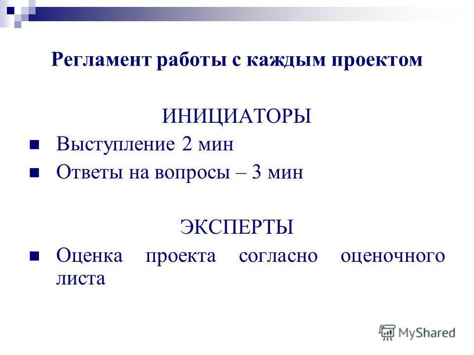 ИНИЦИАТОРЫ Выступление 2 мин Ответы на вопросы – 3 мин ЭКСПЕРТЫ Оценка проекта согласно оценочного листа Регламент работы с каждым проектом