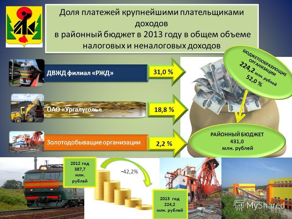 Доля платежей крупнейшими плательщиками доходов в районный бюджет в 2013 году в общем объеме налоговых и неналоговых доходов ДВЖД филиал «РЖД» ОАО «Ургалуголь» Золотодобыващие организации РАЙОННЫЙ БЮДЖЕТ 431,0 млн. рублей 31,0 % 18,8 % 2,2 % БЮДЖЕТОО