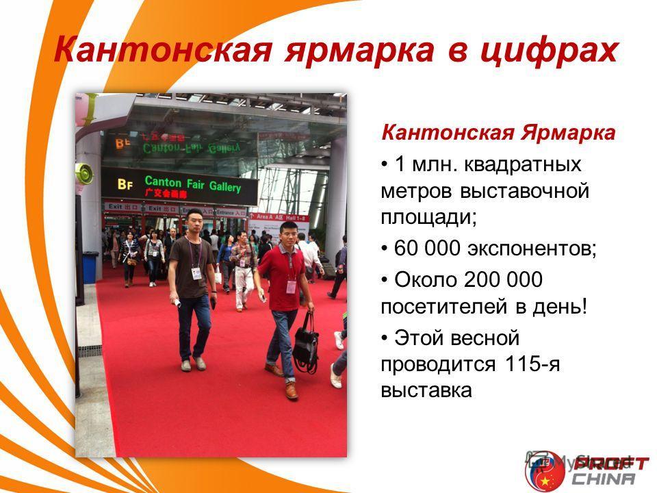 Кантонская Ярмарка 1 млн. квадратных метров выставочной площади; 60 000 экспонентов; Около 200 000 посетителей в день! Этой весной проводится 115-я выставка Кантонская ярмарка в цифрах