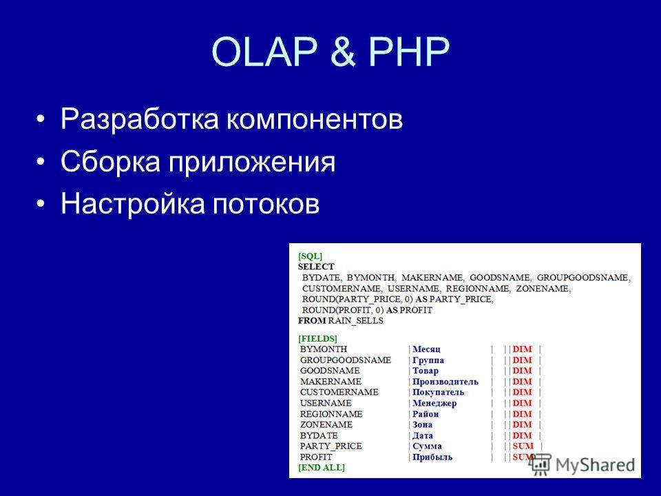 OLAP & PHP Разработка компонентов Сборка приложения Настройка потоков