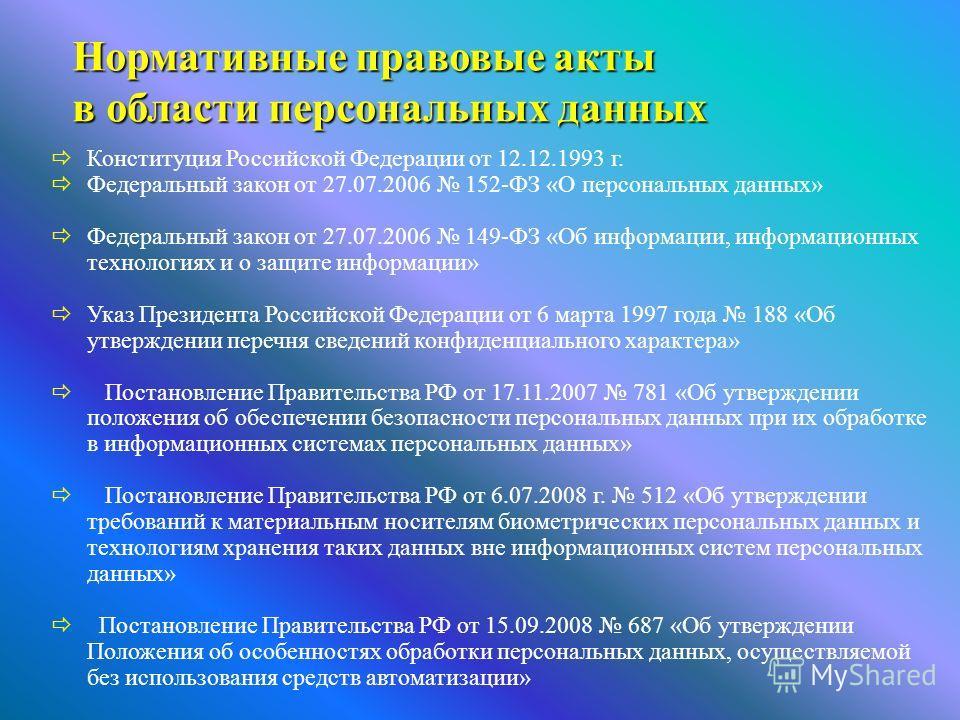 Нормативные правовые акты в области персональных данных Нормативные правовые акты в области персональных данных Конституция Российской Федерации от 12.12.1993 г. Федеральный закон от 27.07.2006 152-ФЗ «О персональных данных» Федеральный закон от 27.0