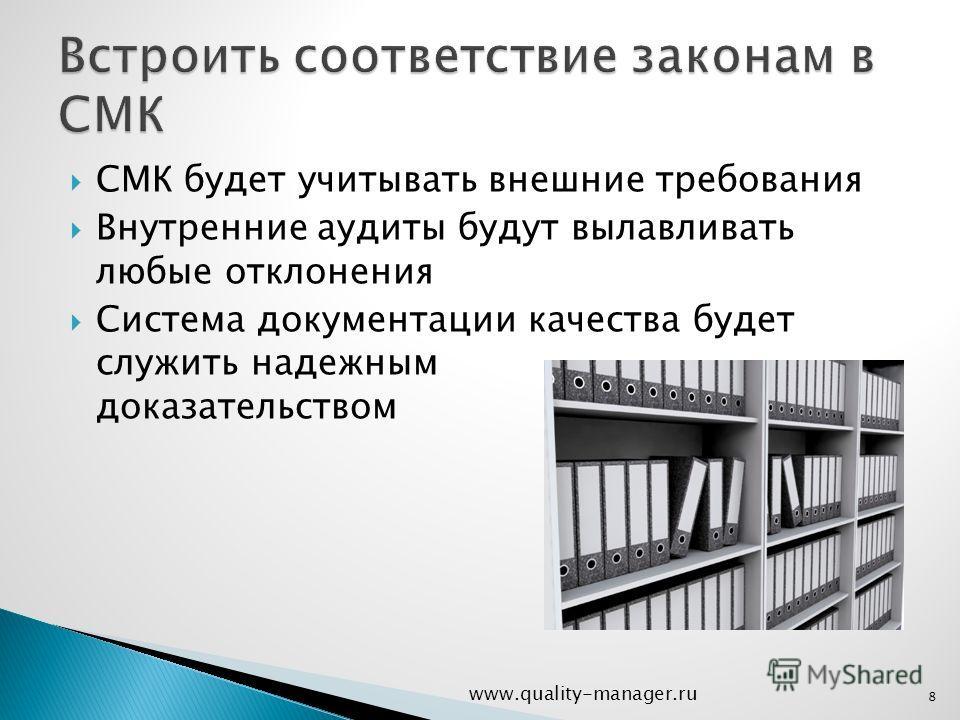 СМК будет учитывать внешние требования Внутренние аудиты будут вылавливать любые отклонения Система документации качества будет служить надежным доказательством www.quality-manager.ru 8