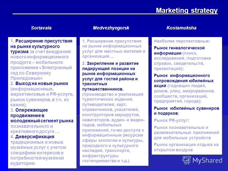 Marketing strategy Marketing strategy 1. Расширение присутствия на рынке культурного туризма за счет внедрения нового информационного продукта – мобильного приложения «Электронный гид по Северному Приладожью» 2. Выход на новые рынки (информационные,