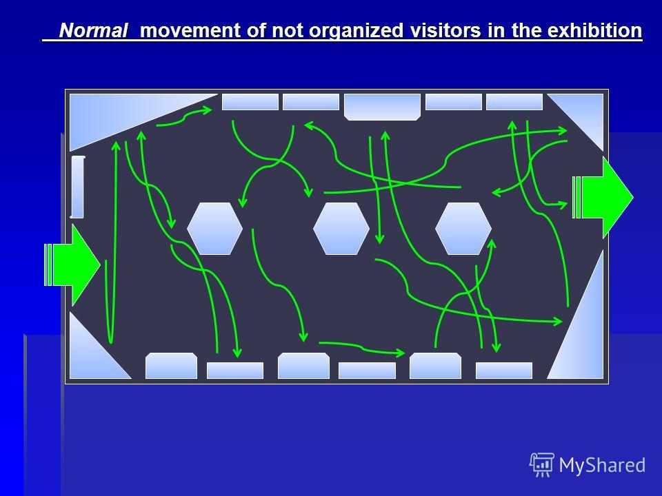 Normal movement of not organized visitors in the exhibition Normal movement of not organized visitors in the exhibition