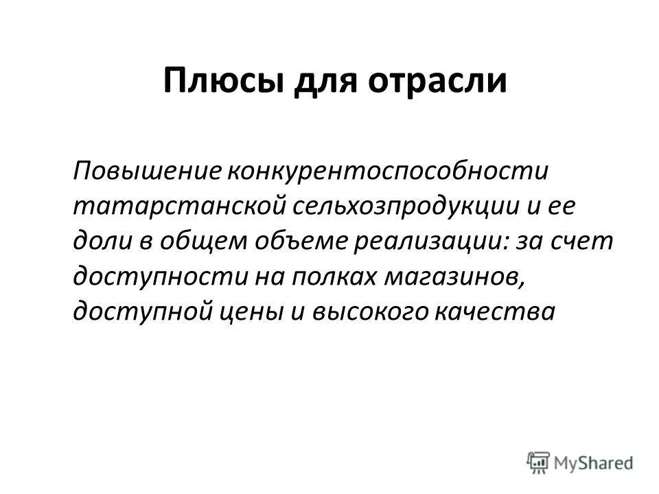 Плюсы для отрасли Повышение конкурентоспособности татарстанской сельхозпродукции и ее доли в общем объеме реализации: за счет доступности на полках магазинов, доступной цены и высокого качества