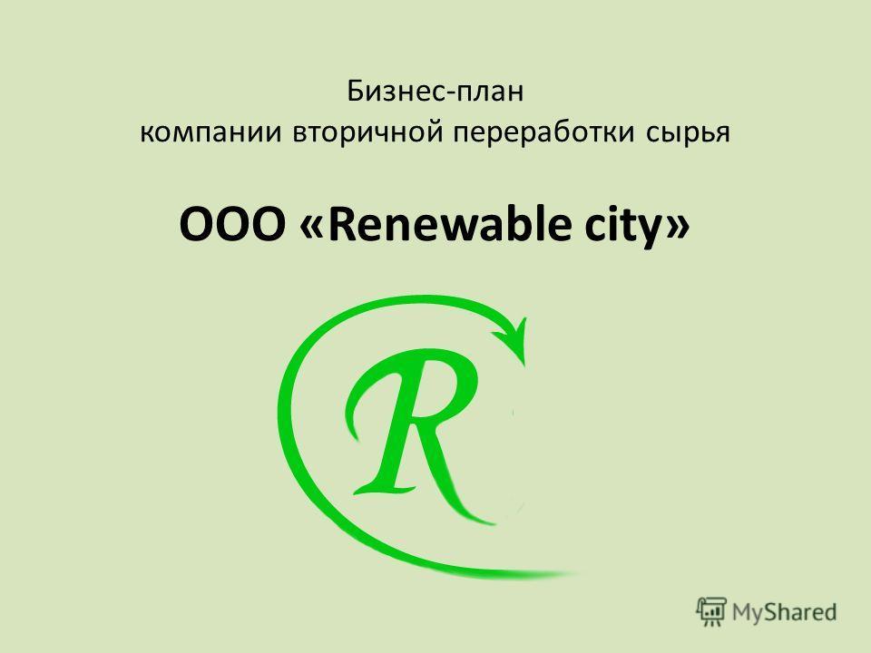 Бизнес-план компании вторичной переработки сырья ООО «Renewable city»
