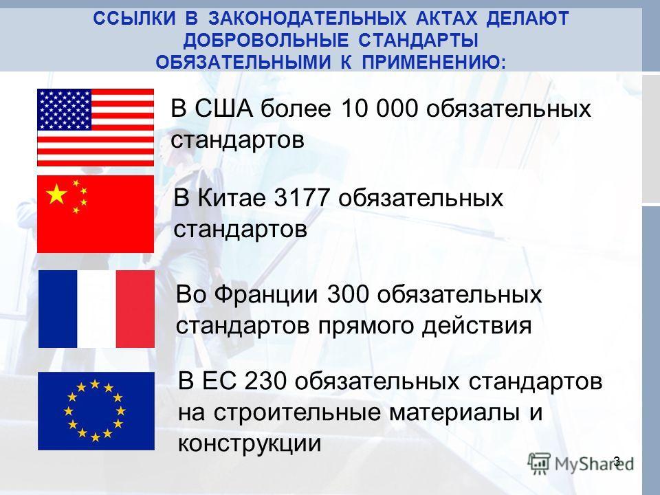 ССЫЛКИ В ЗАКОНОДАТЕЛЬНЫХ АКТАХ ДЕЛАЮТ ДОБРОВОЛЬНЫЕ СТАНДАРТЫ ОБЯЗАТЕЛЬНЫМИ К ПРИМЕНЕНИЮ: 3 В США более 10 000 обязательных стандартов В Китае 3177 обязательных стандартов Во Франции 300 обязательных стандартов прямого действия В ЕС 230 обязательных с
