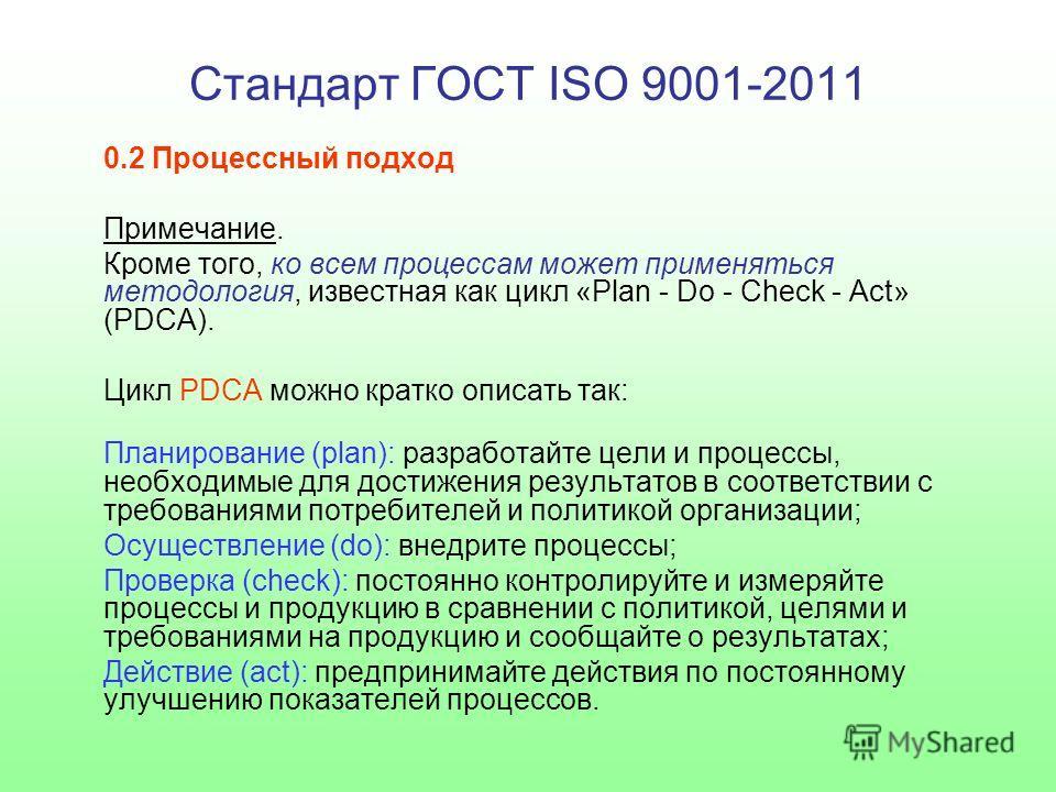 Стандарт ГОСТ ISO 9001-2011 0.2 Процессный подход Примечание. Кроме того, ко всем процессам может применяться методология, известная как цикл «Plan - Do - Check - Act» (PDCA). Цикл PDCA можно кратко описать так: Планирование (plan): разработайте цели