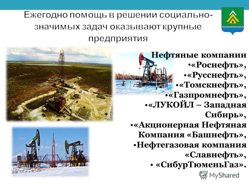 Нефтяные компании «Роснефть», «Русснефть», «Томскнефть», «Газпромнефть», «ЛУКОЙЛ – Западная Сибирь», «Акционерная Нефтяная Компания «Башнефть», Нефтегазовая компания «Славнефть», «СибурТюменьГаз».