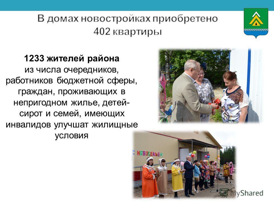 1233 жителей района из числа очередников, работников бюджетной сферы, граждан, проживающих в непригодном жилье, детей- сирот и семей, имеющих инвалидов улучшат жилищные условия