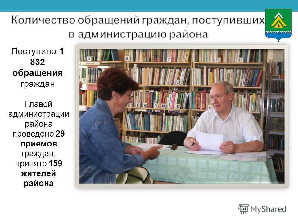 Поступило 1 832 обращения граждан Главой администрации района проведено 29 приемов граждан, принято 159 жителей района