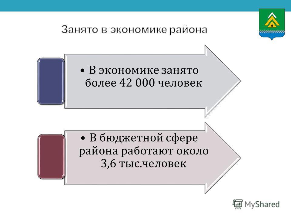 В экономике занято более 42 000 человек В бюджетной сфере района работают около 3,6 тыс.человек