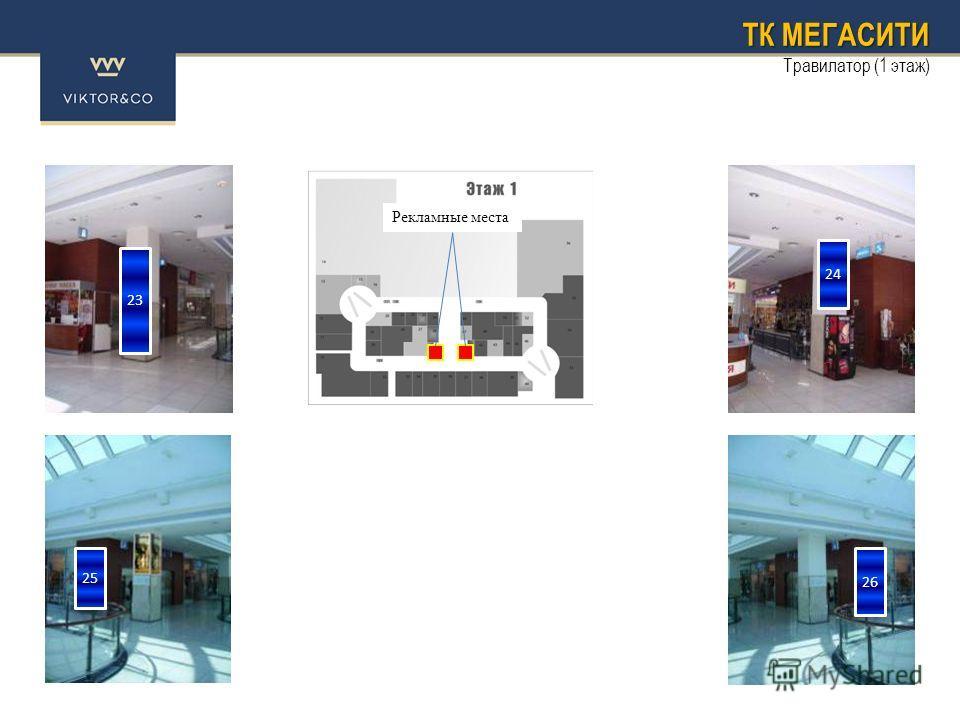 ТК МЕГАСИТИ Травилатор (1 этаж) 23 25 24 26 Рекламные места