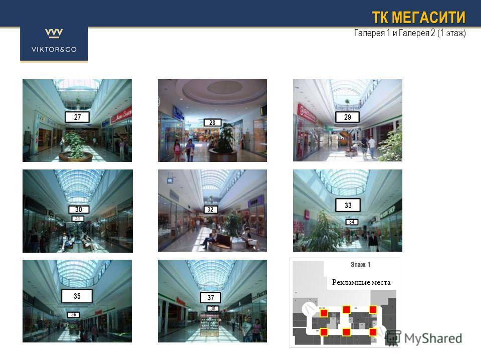 ТК МЕГАСИТИ Галерея 1 и Галерея 2 (1 этаж) 32 28 27 30 31 35 29 33 34 37 38 36 Рекламные места