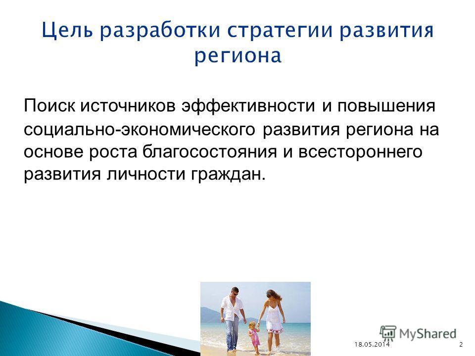 Поиск источников эффективности и повышения социально-экономического развития региона на основе роста благосостояния и всестороннего развития личности граждан. 18.05.2014 2