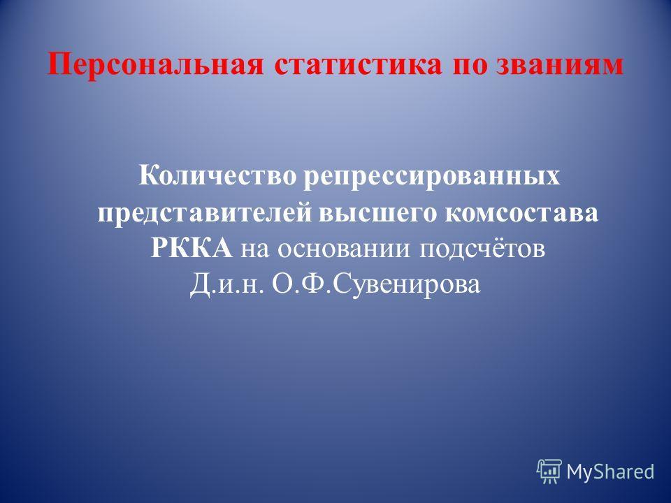 Персональная статистика по званиям Количество репрессированных представителей высшего комсостава РККА на основании подсчётов Д.и.н. О.Ф.Сувенирова
