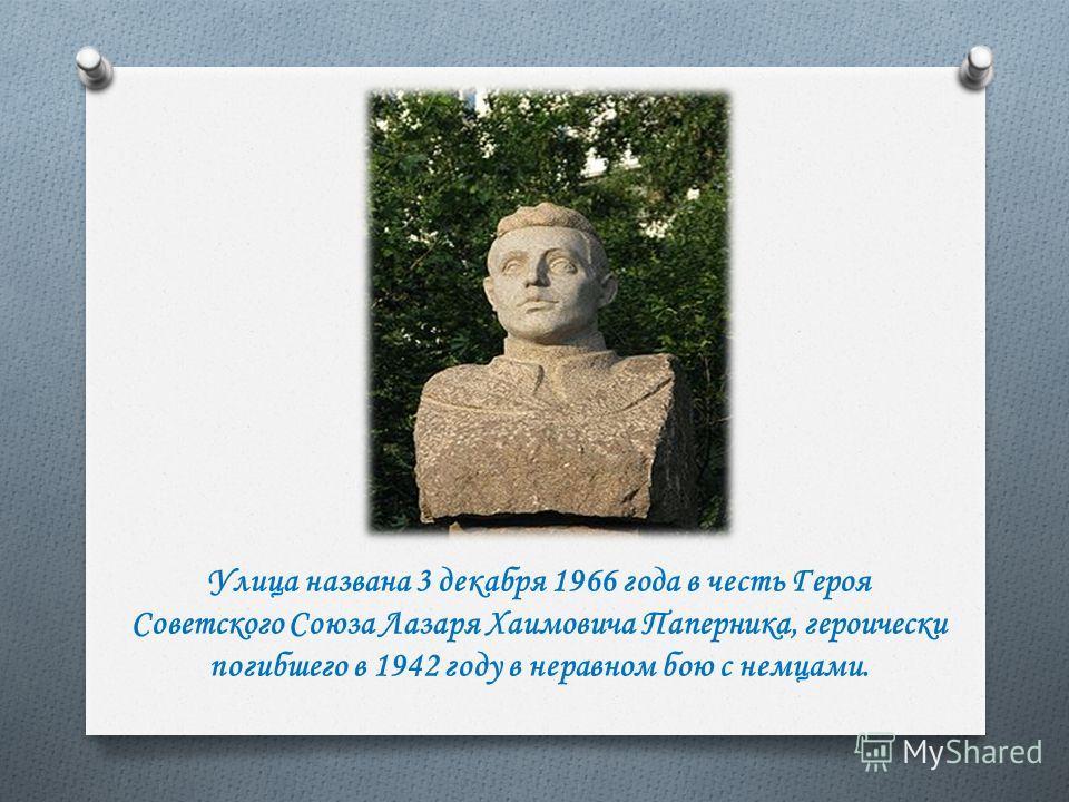 Улица названа 3 декабря 1966 года в честь Героя Советского Союза Лазаря Хаимовича Паперника, героически погибшего в 1942 году в неравном бою с немцами.