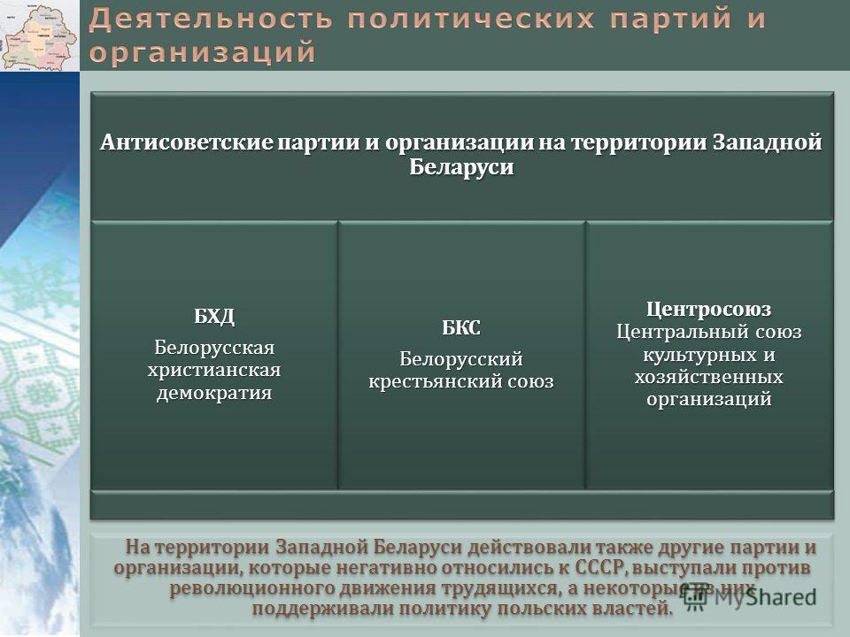 На территории Западной Беларуси действовали также другие партии и организации, которые негативно относились к СССР, выступали против революционного движения трудящихся, а некоторые из них поддерживали политику польских властей. Антисоветские партии и
