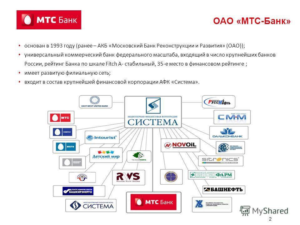 2 ОАО «МТС-Банк» основан в 1993 году (ранее – АКБ «Московский Банк Реконструкции и Развития» (ОАО)); универсальный коммерческий банк федерального масштаба, входящий в число крупнейших банков России, рейтинг Банка по шкале Fitch А- стабильный, 35-е ме