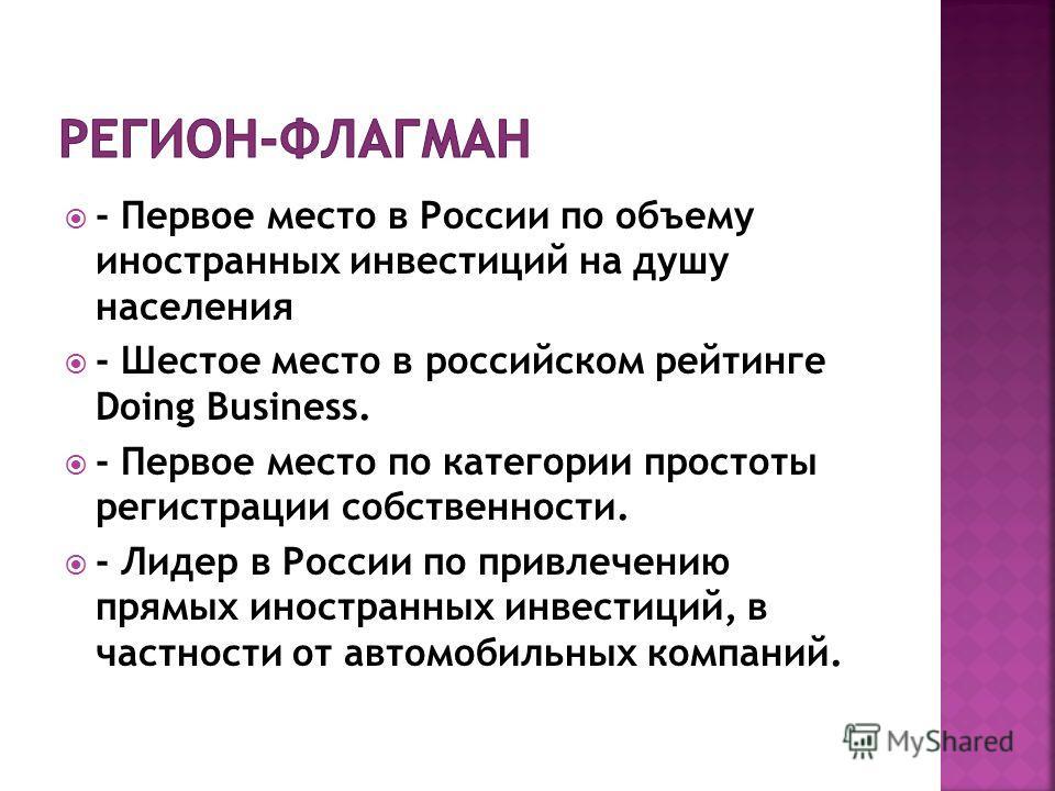 - Первое место в России по объему иностранных инвестиций на душу населения - Шестое место в российском рейтинге Doing Business. - Первое место по категории простоты регистрации собственности. - Лидер в России по привлечению прямых иностранных инвести