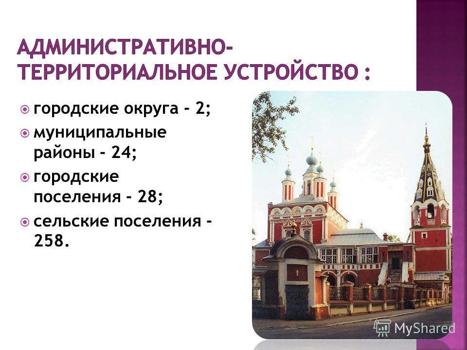 городские округа - 2; муниципальные районы - 24; городские поселения - 28; сельские поселения - 258.