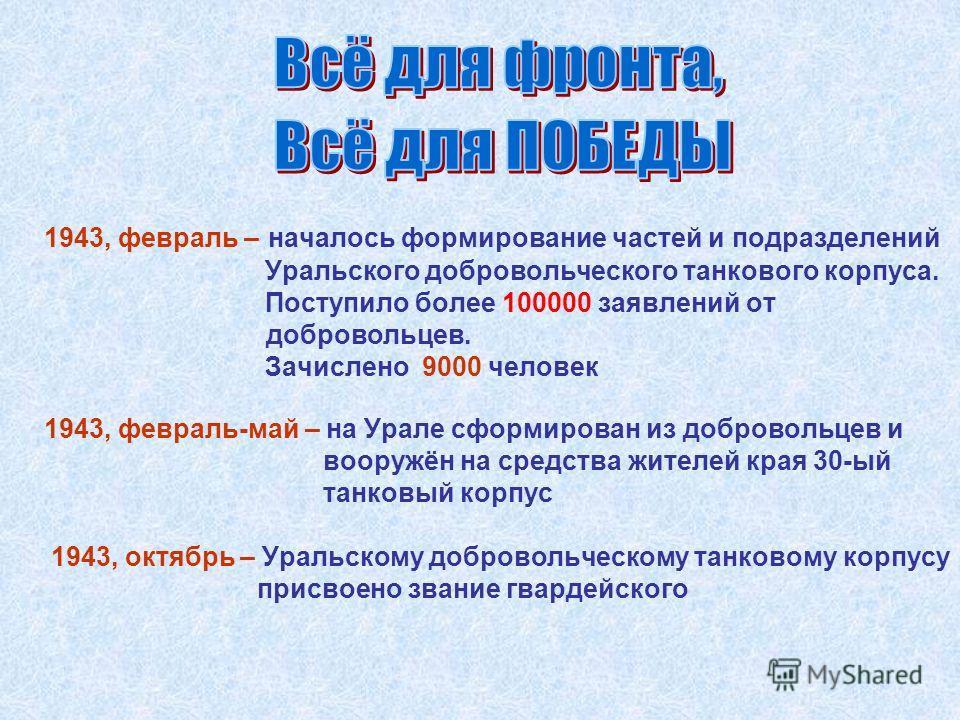 1943, февраль – началось формирование частей и подразделений Уральского добровольческого танкового корпуса. Поступило более 100000 заявлений от добровольцев. Зачислено 9000 человек 1943, октябрь – Уральскому добровольческому танковому корпусу присвое