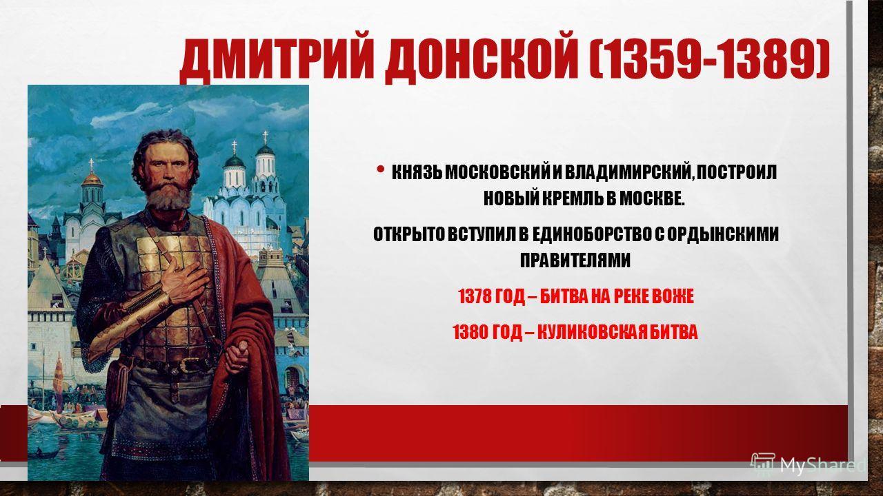 ДМИТРИЙ ДОНСКОЙ (1359-1389) КНЯЗЬ МОСКОВСКИЙ И ВЛАДИМИРСКИЙ, ПОСТРОИЛ НОВЫЙ КРЕМЛЬ В МОСКВЕ. ОТКРЫТО ВСТУПИЛ В ЕДИНОБОРСТВО С ОРДЫНСКИМИ ПРАВИТЕЛЯМИ 1378 ГОД – БИТВА НА РЕКЕ ВОЖЕ 1380 ГОД – КУЛИКОВСКАЯ БИТВА
