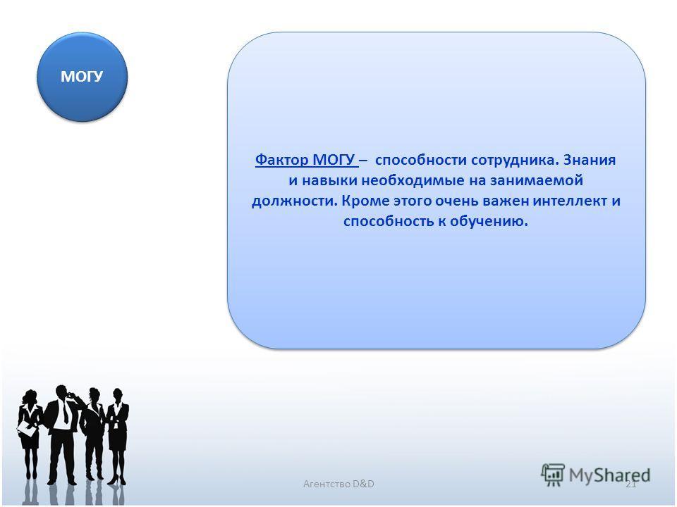21Агентство D&D МОГУ Фактор МОГУ – способности сотрудника. Знания и навыки необходимые на занимаемой должности. Кроме этого очень важен интеллект и способность к обучению.