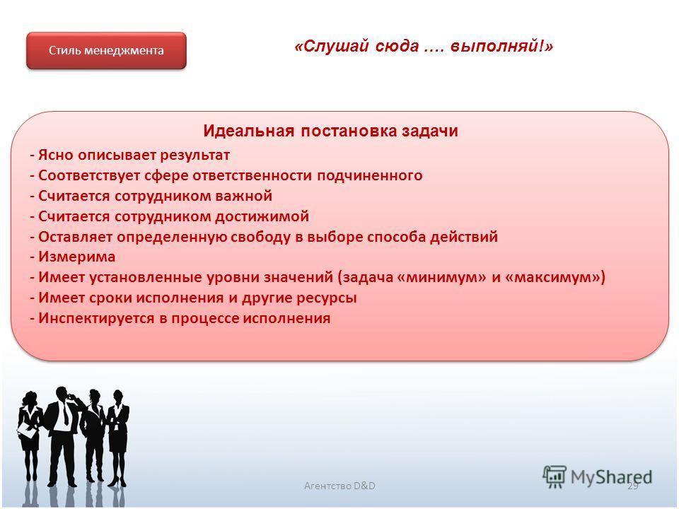 29Агентство D&D Стиль менеджмента - Ясно описывает результат - Соответствует сфере ответственности подчиненного - Считается сотрудником важной - Считается сотрудником достижимой - Оставляет определенную свободу в выборе способа действий - Измерима -