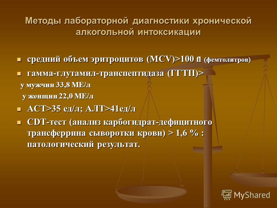 Методы лабораторной диагностики хронической алкогольной интоксикации средний объем эритроцитов (MCV)>100 fl (фемтолитров) средний объем эритроцитов (MCV)>100 fl (фемтолитров) гамма-глутамил-транспептидаза (ГГТП)> гамма-глутамил-транспептидаза (ГГТП)>
