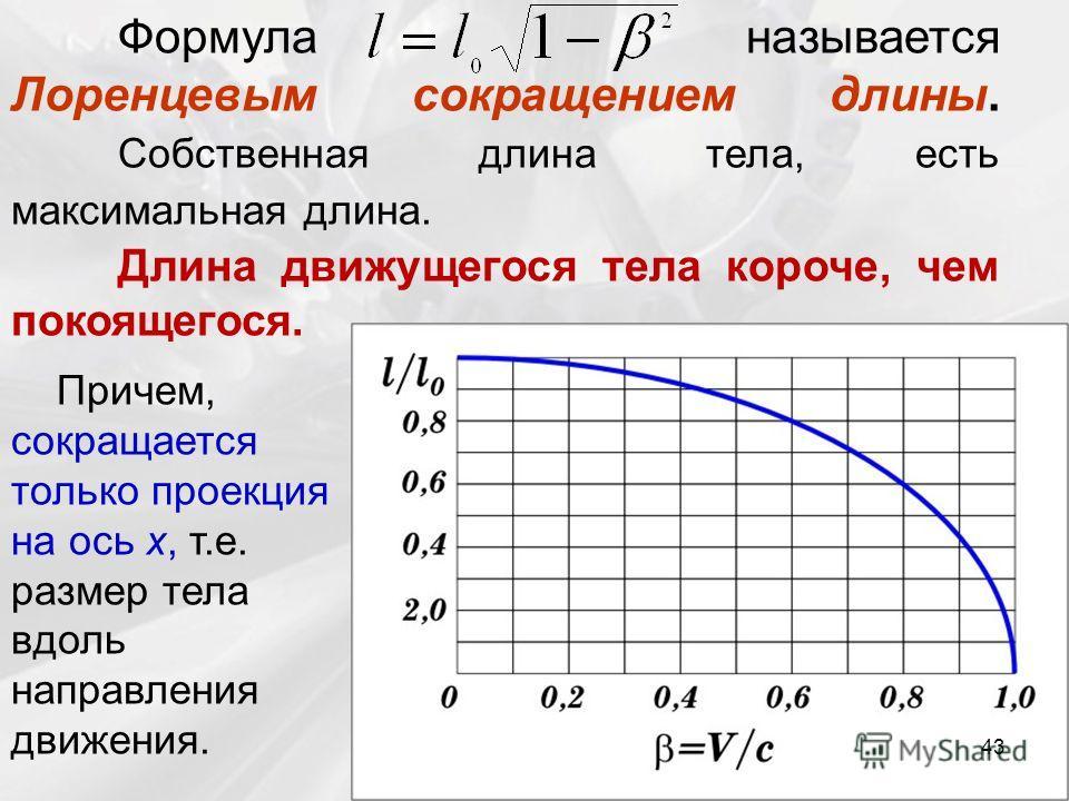 Формула называется Лоренцевым сокращением длины. Собственная длина тела, есть максимальная длина. Длина движущегося тела короче, чем покоящегося. Причем, сокращается только проекция на ось x, т.е. размер тела вдоль направления движения. 43