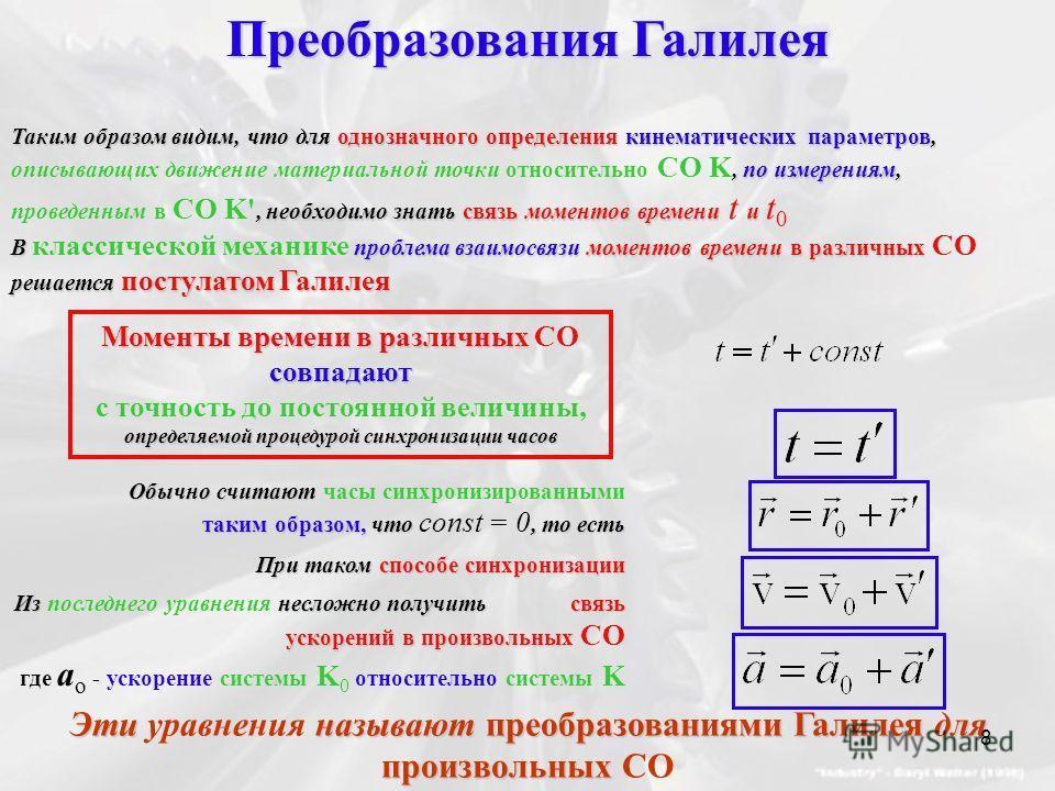 Преобразования Галилея Таким образом видим, что для однозначного определения кинематических параметров,, по измерениям,, необходимо знать связь моментов времени и Таким образом видим, что для однозначного определения кинематических параметров, описыв