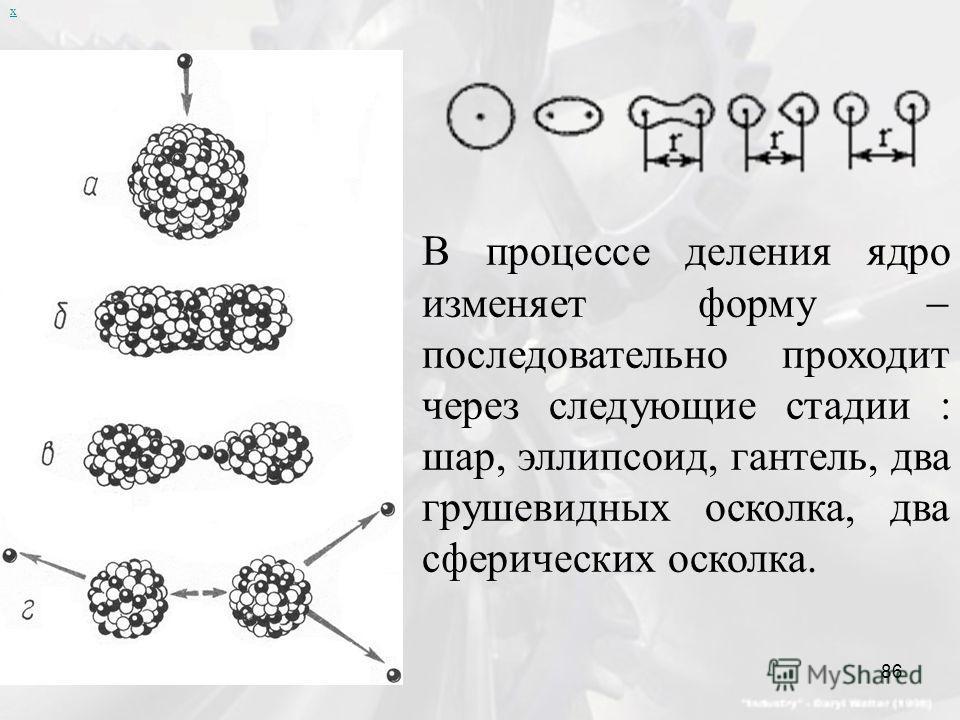 х В процессе деления ядро изменяет форму последовательно проходит через следующие стадии : шар, эллипсоид, гантель, два грушевидных осколка, два сферических осколка. 86