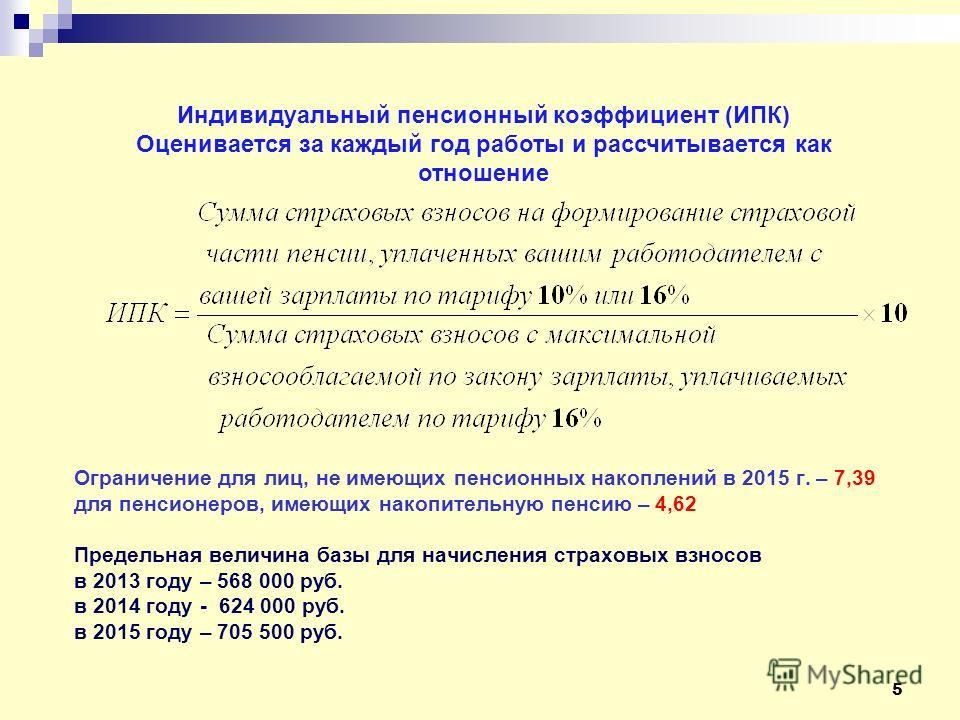 5 Ограничение для лиц, не имеющих пенсионных накоплений в 2015 г. – 7,39 для пенсионеров, имеющих накопительную пенсию – 4,62 Предельная величина базы для начисления страховых взносов в 2013 году – 568 000 руб. в 2014 году - 624 000 руб. в 2015 году