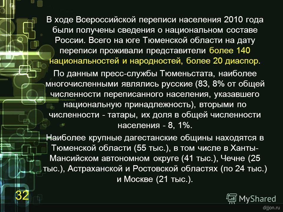 В ходе Всероссийской переписи населения 2010 года были получены сведения о национальном составе России. Всего на юге Тюменской области на дату переписи проживали представители более 140 национальностей и народностей, более 20 диаспор. По данным пресс