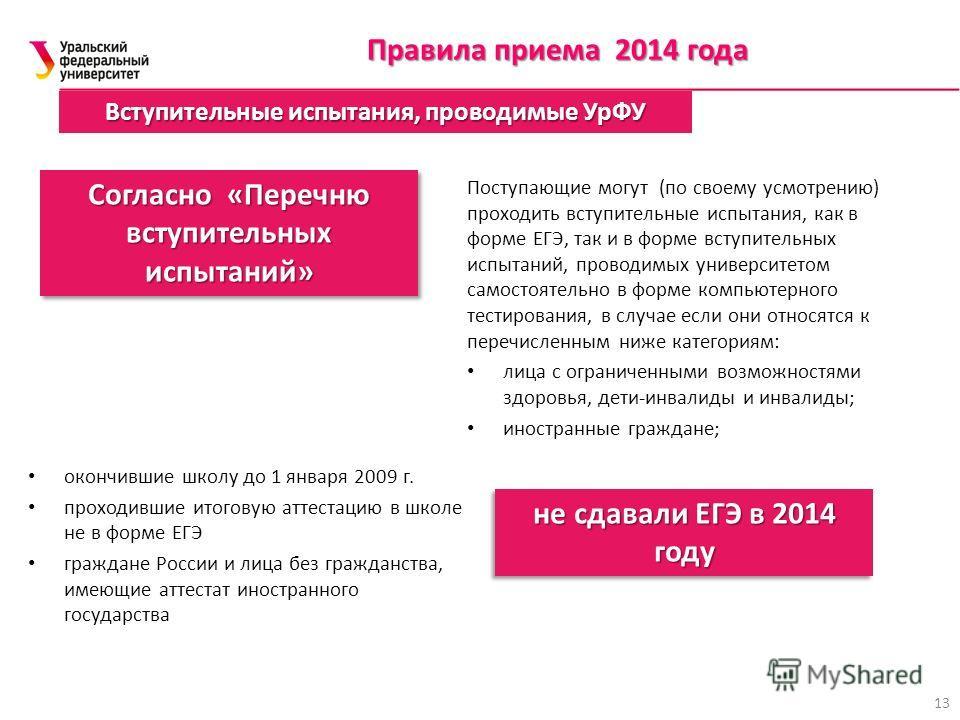 Вступительные испытания, проводимые УрФУ Правила приема 2014 года 13 Поступающие могут (по своему усмотрению) проходить вступительные испытания, как в форме ЕГЭ, так и в форме вступительных испытаний, проводимых университетом самостоятельно в форме к