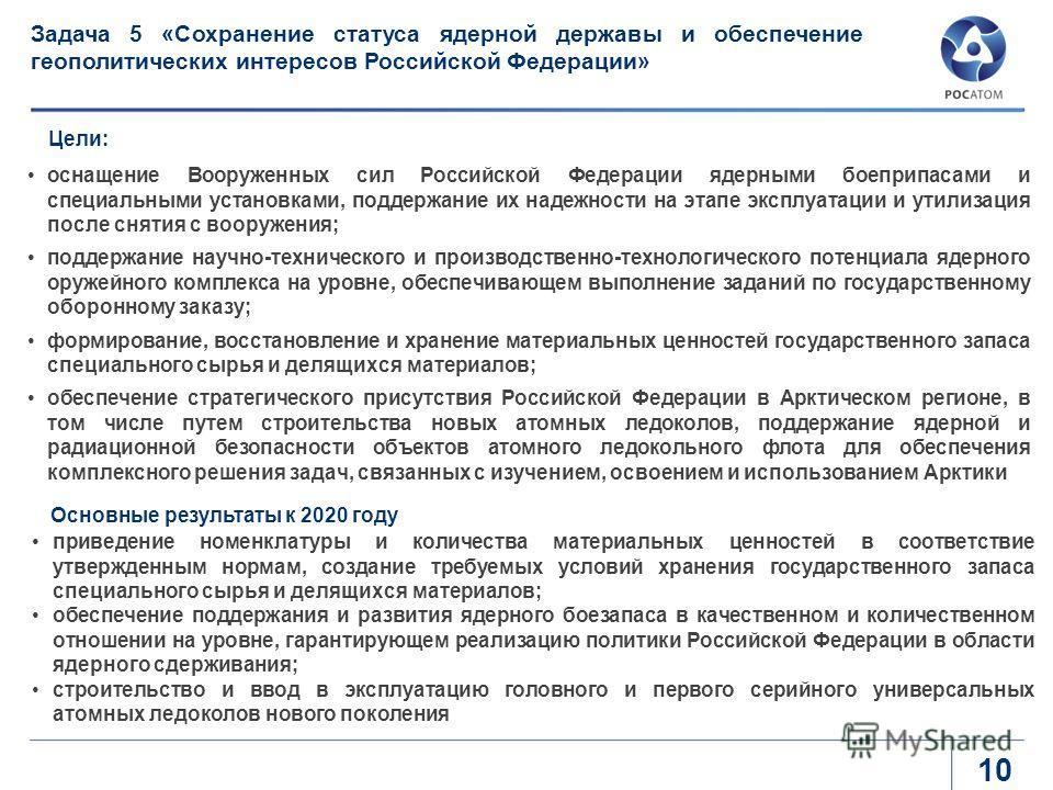 оснащение Вооруженных сил Российской Федерации ядерными боеприпасами и специальными установками, поддержание их надежности на этапе эксплуатации и утилизация после снятия с вооружения; поддержание научно-технического и производственно-технологическог