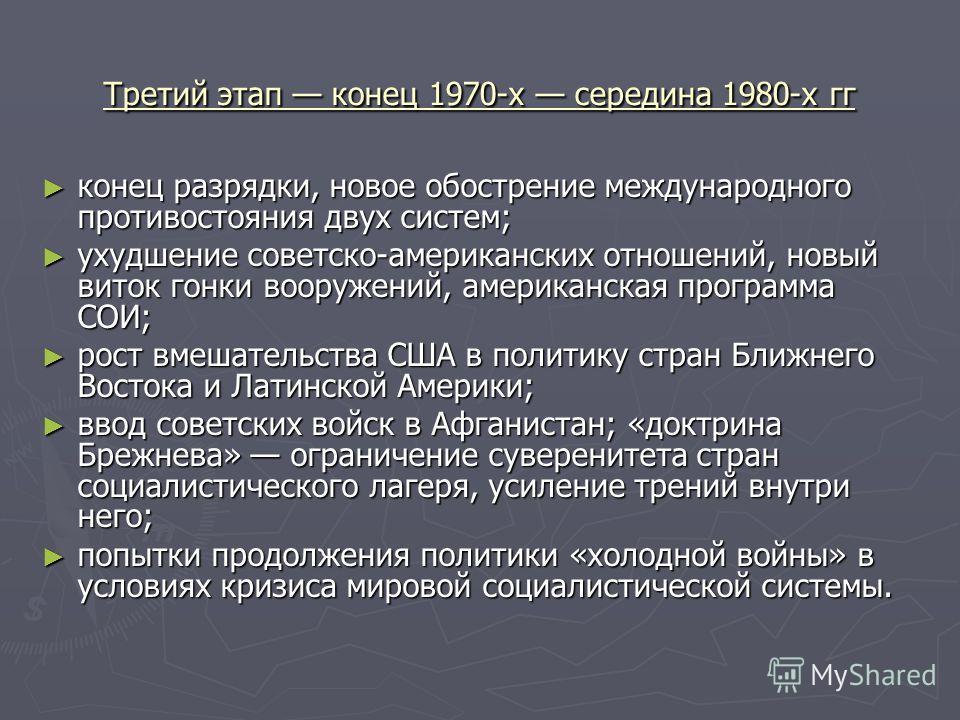 Третий этап конец 1970-х середина 1980-х гг конец разрядки, новое обострение международного противостояния двух систем; конец разрядки, новое обострение международного противостояния двух систем; ухудшение советско-американских отношений, новый виток