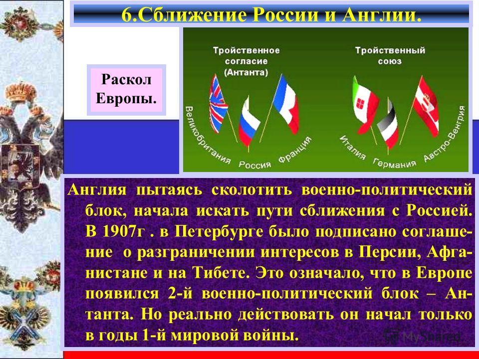 Англия пытаясь сколотить военно-политический блок, начала искать пути сближения с Россией. В 1907г. в Петербурге было подписано соглаше- ние о разграничении интересов в Персии, Афга- нистане и на Тибете. Это означало, что в Европе появился 2-й военно