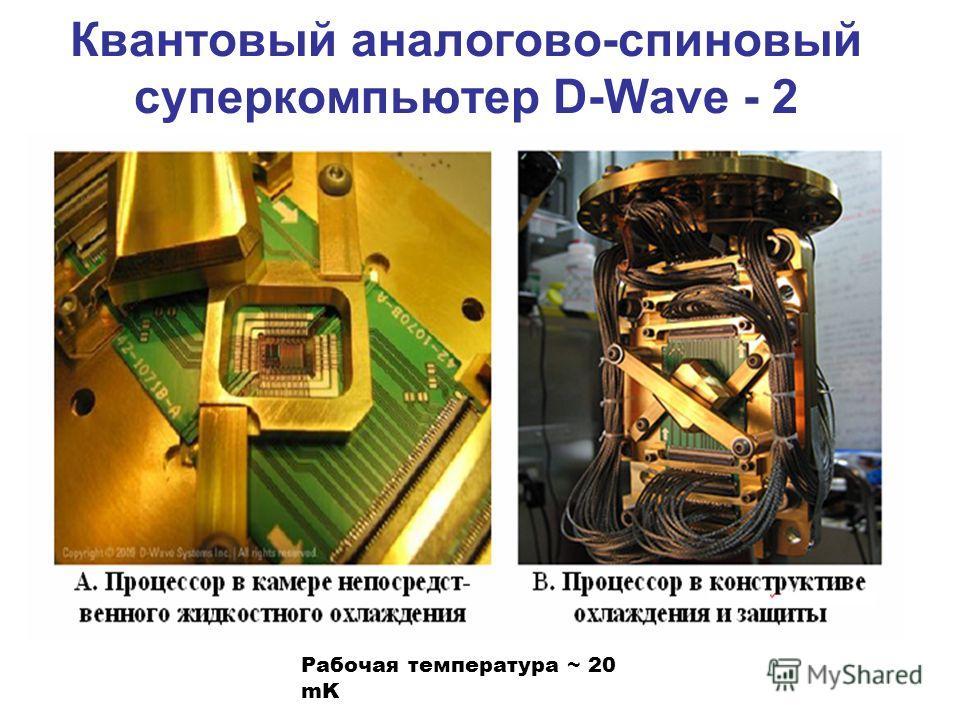 Квантовый аналогово-спиновый суперкомпьютер D-Wave - 2 Рабочая температура ~ 20 mK